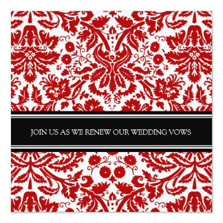Red Black Wedding Vow Renewal Invitation