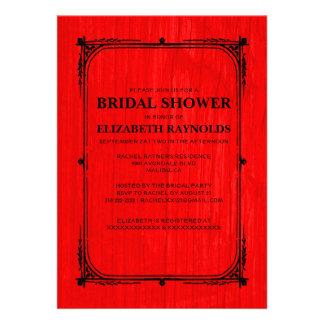 Red Black Western Barn Wood Bridal Shower Invites Custom Invite