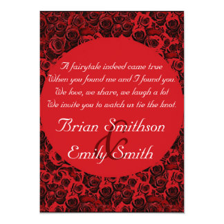 Red black white artistic roses wedding invitations