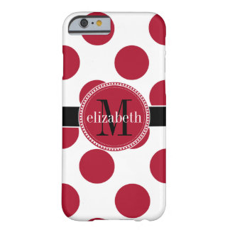 Red Black White Big Polka Dot Monogram Barely There iPhone 6 Case
