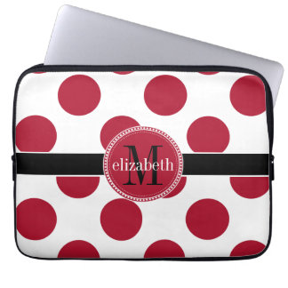 Red Black White Big Polka Dot Monogram Laptop Sleeve