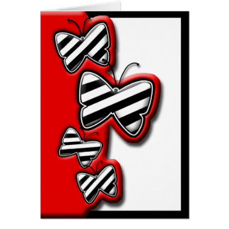 Red Black & White Chic Butterfly notecards Note Card