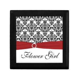 Red, Black, White Damask Flower Girl Trinket Box