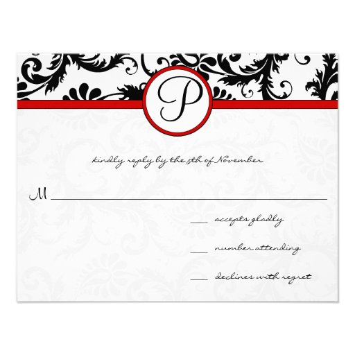 Red Black White Damask Swirl RSVP Cards Announcement