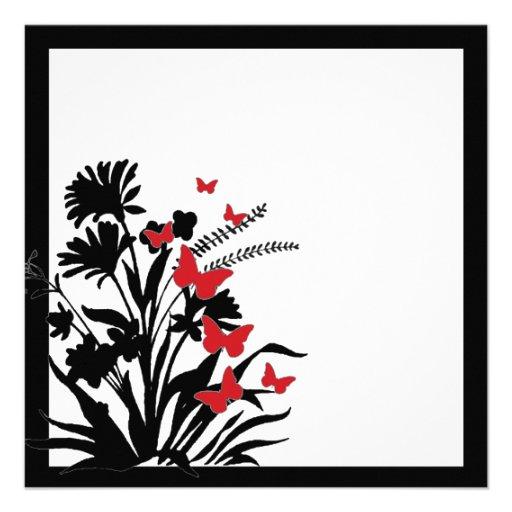 Red black white flower butterfly wedding invites