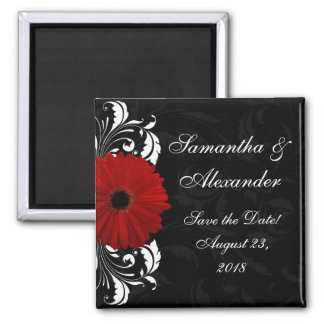 Red+Black+White Gerbera Daisy Save the Date /Favor Square Magnet