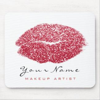 Red Black White Glitter Name Makeup Lips Kiss Mouse Mat