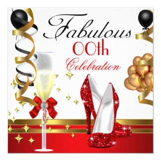 Red Black White Gold Fabulous Birthday Party Card