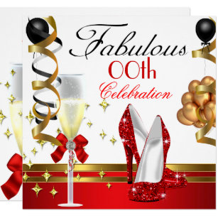 Red Black White Gold Fabulous Birthday Party Invitation