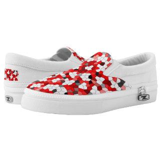 Red Black White Gray Pattern Slip-On Shoes
