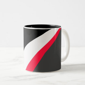 Red Black White Gray Pattern Two-Tone Coffee Mug