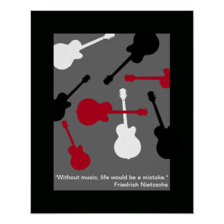 red/black/white guitars for the musician poster