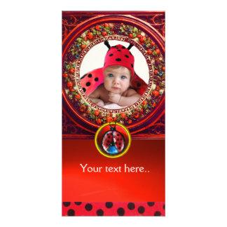 RED BLACK WHITE LADYBUG BABY SHOWER PHOTO TEMPLATE CUSTOMISED PHOTO CARD