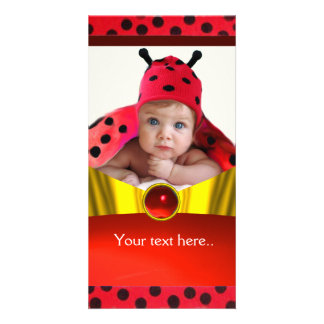 RED BLACK WHITE LADYBUG BABY SHOWER PHOTO TEMPLATE PICTURE CARD