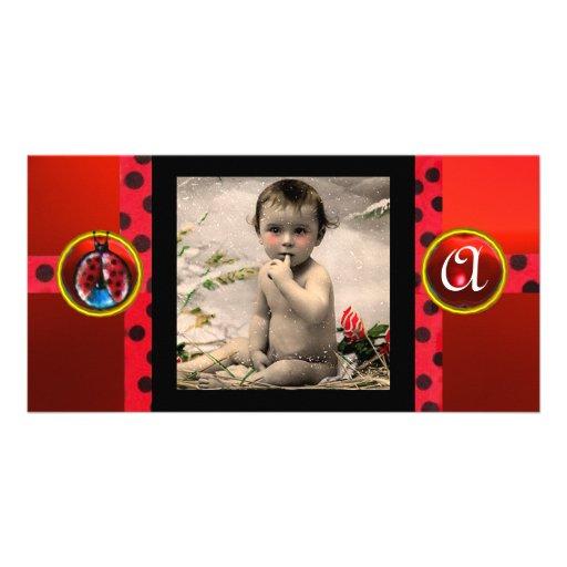 RED BLACK WHITE LADYBUG MONOGRAM PHOTO TEMPLATE PHOTO CARDS
