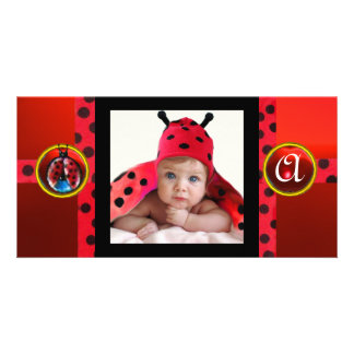 RED BLACK WHITE LADYBUG MONOGRAM PHOTO TEMPLATE PICTURE CARD
