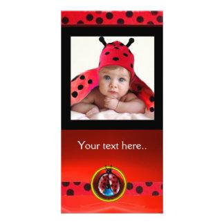 RED BLACK WHITE LADYBUG , PHOTO TEMPLATE CUSTOMISED PHOTO CARD