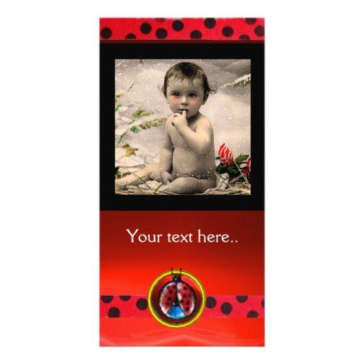 RED BLACK WHITE LADYBUG , PHOTO TEMPLATE CUSTOMIZED PHOTO CARD