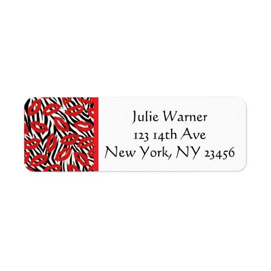 Red, Black, White Lips Return Address Stickers Return Address Label