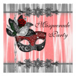 Red Black White Masquerade Party Personalized Announcements