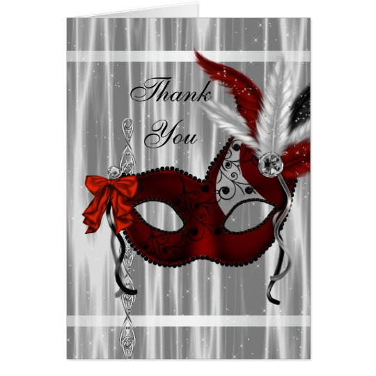 Red Black White Masquerade Party Thank You Cards