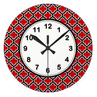 Red Black White Moroccan Quatrefoil Pattern #5DS Large Clock