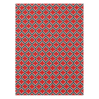 Red Black White Moroccan Quatrefoil Pattern #5DS Tablecloth