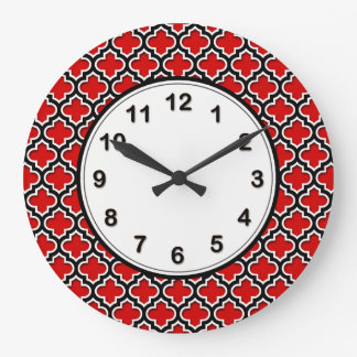 Red Black White Moroccan Quatrefoil Pattern #5DS Wall Clocks