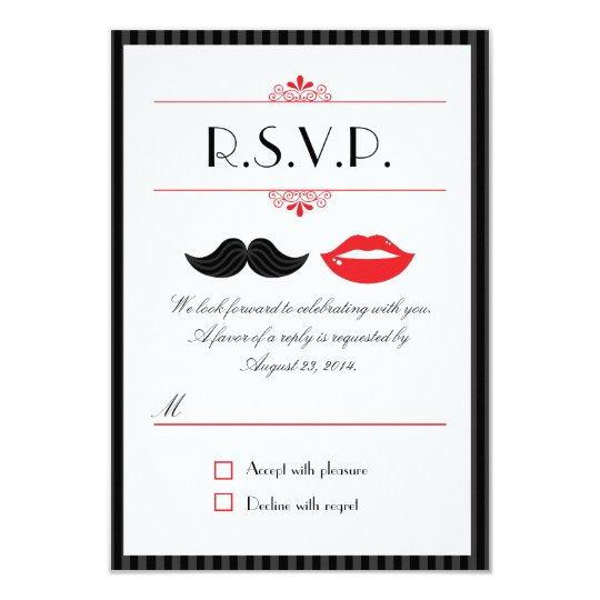 Red, Black & White Moustache & Lips Wedding RSVP Card