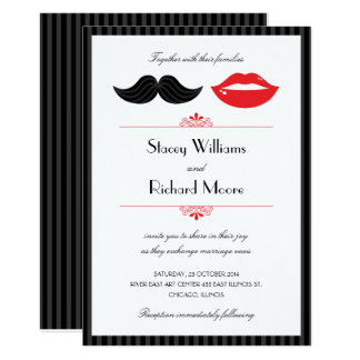 Red, Black & White Mustache & Lips Wedding Card