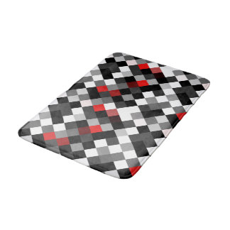 Red Black White Pattern Bath Mat