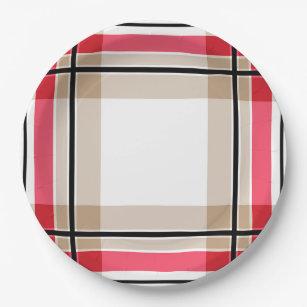Red black white plaid paper plate  sc 1 st  Zazzle & Black And Red Tartan Paper Plates \u0026 Black And Red Tartan Disposable ...