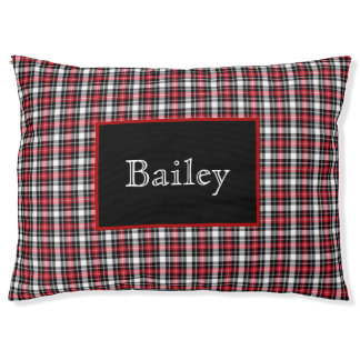 Red Black White Plaid with Name Pet Bed