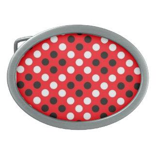 Red Black & White Polka Dot Belt Buckle