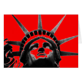 Red Black & White Pop Art Statue of Liberty Card