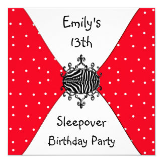 Red Black White Spots 13th Birthday Sleepover 13 Cm X 13 Cm Square Invitation Card
