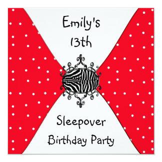 Red Black White Spots 13th Birthday Sleepover Invitation