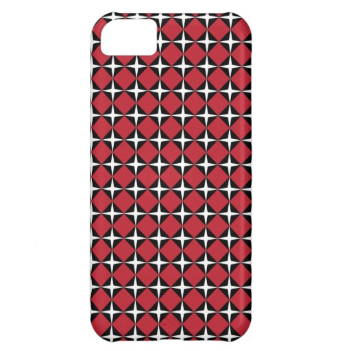 Red Black & White Star Diamonds Case For iPhone 5C