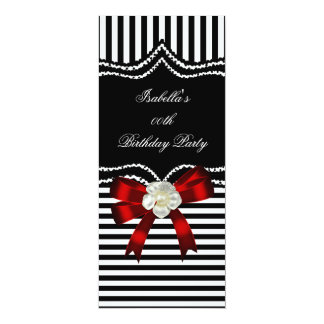 Red Black White Stripe Flower Bow Birthday Party 10 Cm X 24 Cm Invitation Card