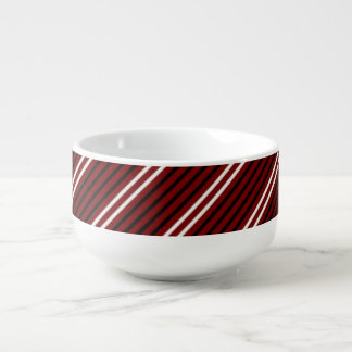 Red Black White Stripe Soup Mug