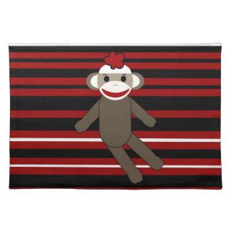 Red Black White Striped Sock Monkey Girl Sitting Place Mats