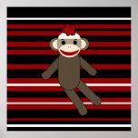 Red Black White Striped Sock Monkey Girl Sitting Poster
