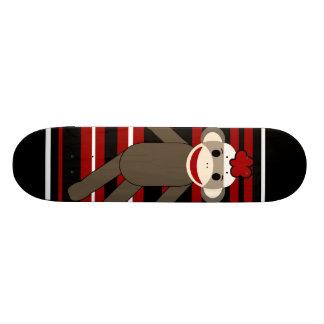 Red Black White Striped Sock Monkey Girl Sitting Skateboard Deck