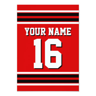 Red Black White Team Jersey Custom Number Name 13 Cm X 18 Cm Invitation Card