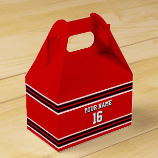 Red Black White Team Jersey Custom Number Name Party Favour Box