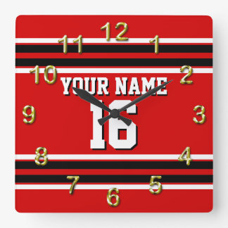 Red Black White Team Jersey Custom Number Name Square Wall Clock