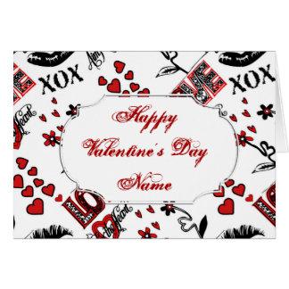 Red Black White Valentine Motif Greeting Card