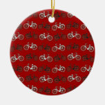 Red Black White Vintage Bicycles  Bikes Cycling Ornament