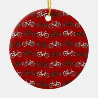Red Black White Vintage Bicycles  Bikes Cycling Round Ceramic Decoration