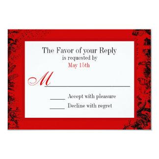 Red Black White Vintage Print Wedding RSVP Card 9 Cm X 13 Cm Invitation Card